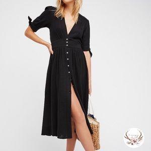 Free People Love of my Life Black Midi Dress NWOT